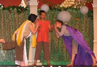 Three players performing the play within the play in A Midsummer Night's Dream